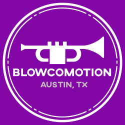 "Blowcomotion logo that has purple background with white trumpet and text ""Blowcomotion Austin TX"" inside a white circle."