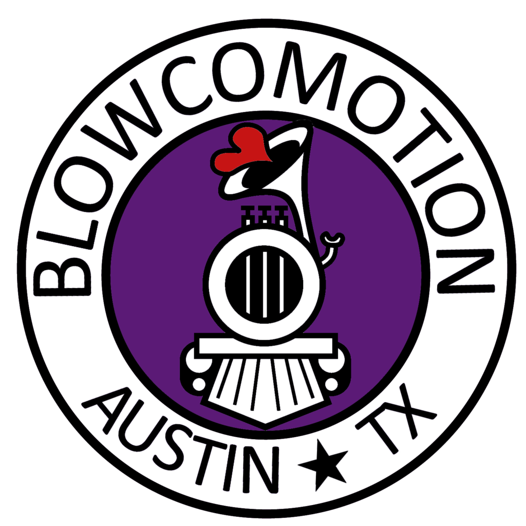 """Blowcomotion round logo with whimsical purple and white train image, and text """"Blowcomotion Austin TX"""""""